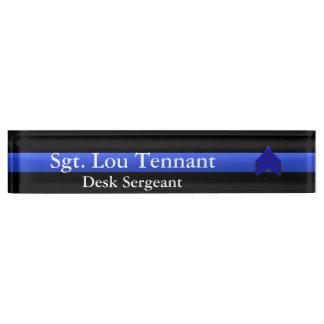 Porte-nom Pour Bureau Blue Line mince - grade de rayures de sergent