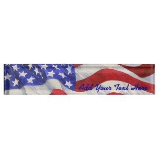 Porte-nom Pour Bureau Drapeau américain - plaque signalétique de bureau