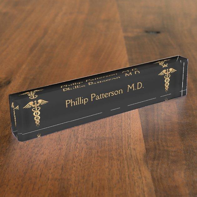 Porte nom pour bureau médecin ou noir et or d infirmière zazzle be