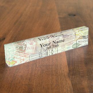 Porte-nom Pour Bureau Plaque d'identification d'impression de timbre de