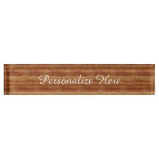 Porte-nom Pour Bureau Regard du bois de grain d'acacia bouclé de Koa