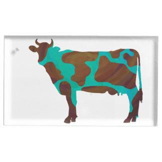 Porte-numéro De Table Vache Brown et silhouette turquoise