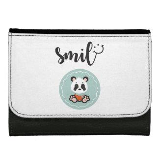Portefeuille de cuir de panda de sourire