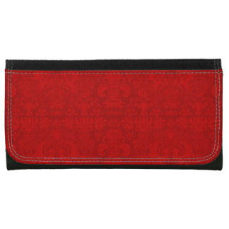 Portefeuille En Cuir Pour Femmes Noël-Rouge-Damassé-Portefeuille-Multi-Styles