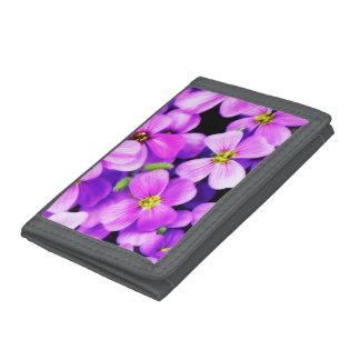 Portefeuille en nylon triple gris avec des fleurs