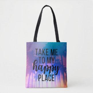 Portez-moi à ma plage et palmiers heureux de Boho Tote Bag
