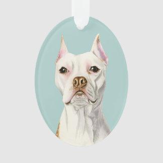 """Portrait blanc """"fier et grand"""" de chien de pitbull"""