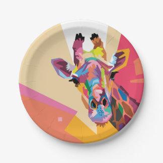 Portrait coloré de girafe d'art de bruit assiettes en papier