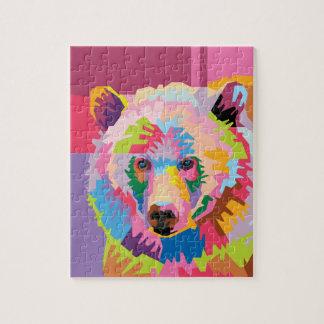 Portrait coloré d'ours d'art de bruit puzzle