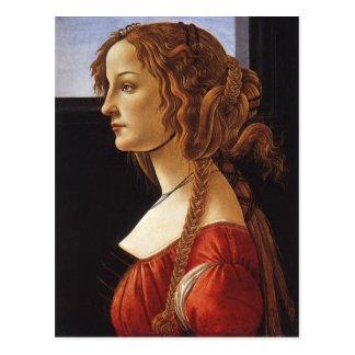 Portrait de carte postale de jeune femme