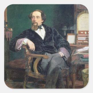 Portrait de Charles Dickens (huile sur la toile) Sticker Carré