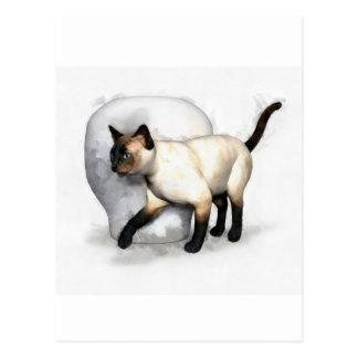 Portrait de chat siamois et de vase carte postale