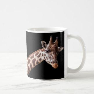 Portrait de girafe sur le noir - tasse