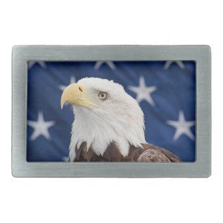 Portrait d'Eagle chauve avec des étoiles Boucles De Ceinture Rectangulaires