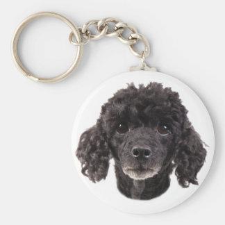 Portrait d'un caniche noir porte-clé rond