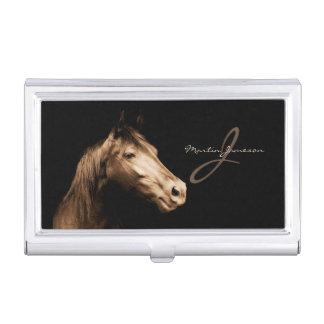 Portrait d'un cheval dans des tonalités de sépia | boîtier pour cartes de visite