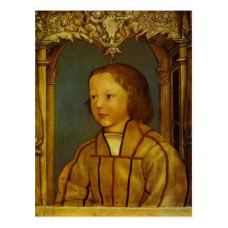 Portrait d'un garçon avec les cheveux blonds par carte postale