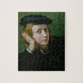 Portrait d'un jeune homme (huile sur le panneau) puzzle