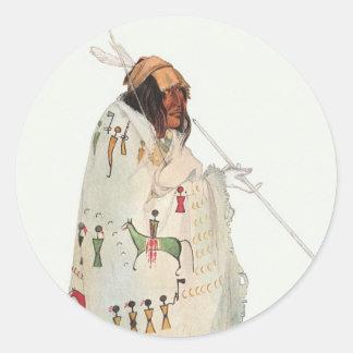 Portrait, guerrier indien avec le tuyau par Karl Sticker Rond