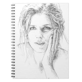 Portrait tiré par la main classique carnet à spirale