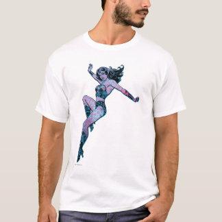 Pose colorée de femme de merveille t-shirt