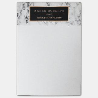 Post-it® Cadre élégant d'or de texture de marbre blanche à
