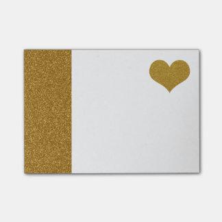 Post-it® Coeur de scintillement d'or de FAUX (appartement