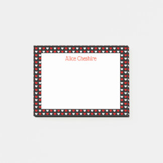 Post-it® Coeurs rouges et blancs personnalisés