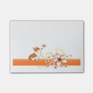 Post-it® Corgi de Gallois avec la fleur