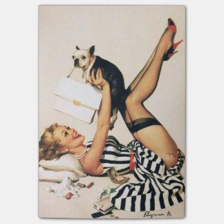 Post-it® Fille de Pin- d'amant de chiot - rétro art de