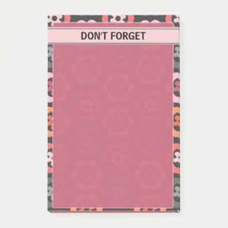 Post-it® Floral gris orange rose pour faire la liste