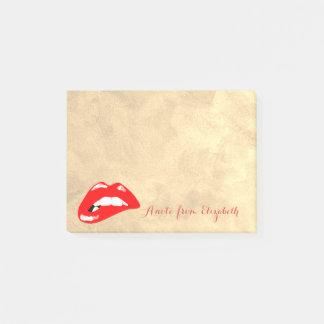 Post-it® Girly élégant chic élégant, or, lèvres rouges