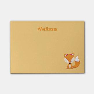 Post-it® Le renard mignon personnalisent la couleur d'or