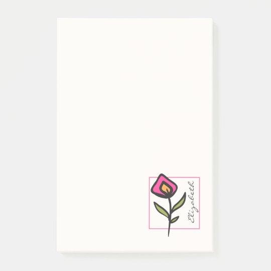Post-it® Longs fleurs sauvages de tige de rose et de vert