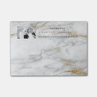 Post-it® Marbre de gris d'or de faveur de Merci de mariage