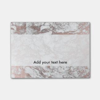 Post-it® Marbre moderne d'or rose blanc élégant à la mode