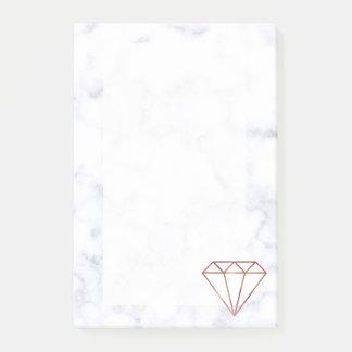 Post-it® marbre rose de blanc de diamant d'or de faux clair