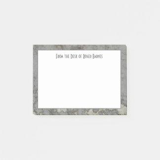Post-it® Masculin gris de marbre de granit personnalisé