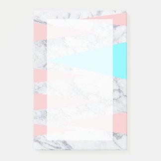 Post-it® menthe géométrique de marbre blanche élégante de