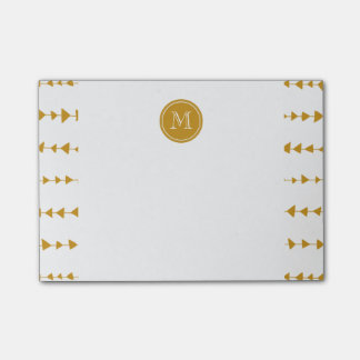 Post-it® Monogramme aztèque blanc de flèches d'or