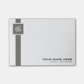 Post-it® Monogramme gris et blanc professionnel de rayure