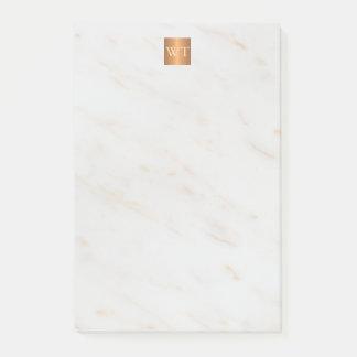 Post-it® Monogramme métallique de marbre élégant de carré