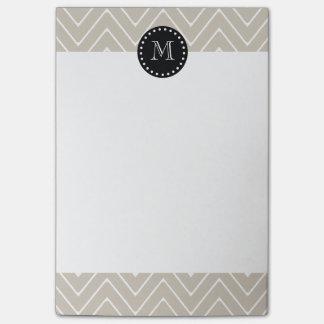 Post-it® Monogramme noir beige du motif | de Chevron