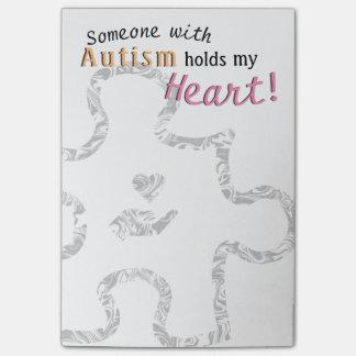 Post-it® Morceau marbré de puzzle d'autisme avec le texte