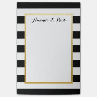Post-it® Noir, blanc, l'or a barré le bloc-notes de post-it