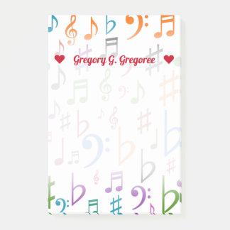 Post-it® Nom + Beaucoup de notes colorées de musique et