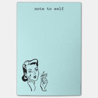 Post-it® Note drôle de femme d'Aqua rétro aux notes