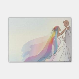 Post-it® Notes de mariage avec la jeune mariée et le marié