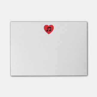 Post-it® Notes de post-it de coeur de note de musique