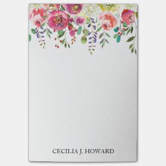 Post-it® Notes de post-it drapées florales de guirlande